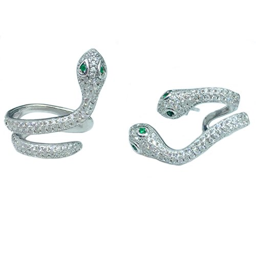 hinestone Snake Sterling Silver Stud Earrings (silver) ()