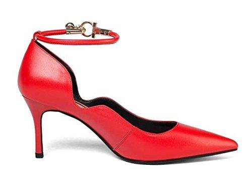 Frauen Leder Stilettos Schuhe Mit Hohen Absätzen Spitz Flache Mode Damen High Heels Pumps Court Schuhe Red