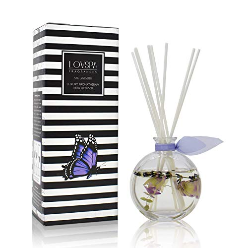 LOVSPA Spa Lavender Reed Diffuser Oil Gift Set | Made with Lavender, Ylang & Geranium Essential Oils + Real Herbs in The Bottle! | Beautiful Display for Your Home Décor | Made in The USA