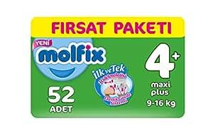 Molfix 3D Bebek Bezi Maxi Plus 4+ Beden, Fırsat Paketi 52 Adet