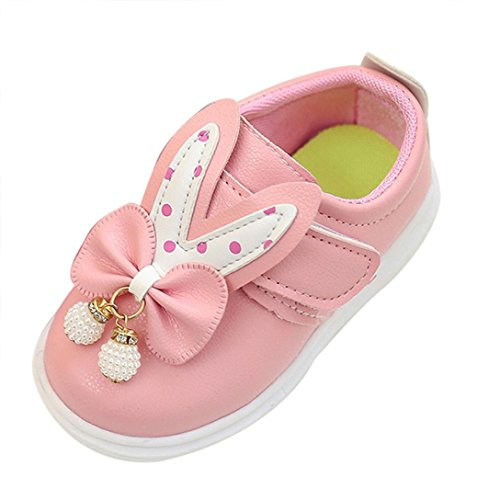Tefamore Zapatos Zapatillas Bebe de Deporte del Otoño de la Primavera de los Niños Orejas de Conejo Corbata de Moño Rosa