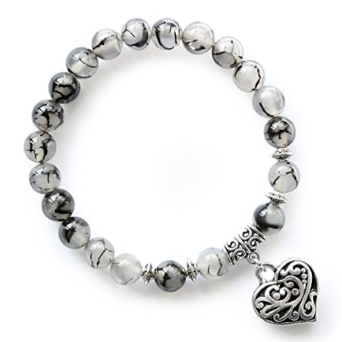 MHZ JEWELS Black White Dragon Vein Agate Stretch Beaded Bracelets with Heart Charm Christmas Day Gift for Women