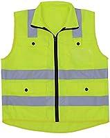 Chaqueta de seguridad reflectante, chaleco de seguridad de alta visibilidad amarillo Chaleco de seguridad de la chaqueta con tiras reflectantes sin manga ...