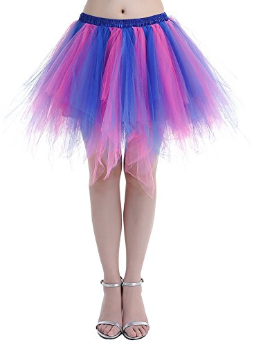 35256c120c Womens Rainbow Puffy Tutu Layered Tulle Petticoat Skirt for Party (Plus Size(US  18w