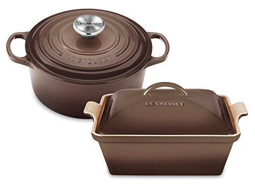 Le Creuset Truffle Enameled Cast Iron French Oven with Bonus Covered Casserole