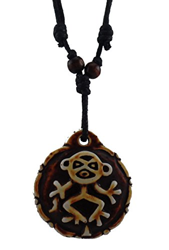 Monkey Necklace - Taino Symbol Necklace - Resin Pendant - Monkey Symbol Pendant