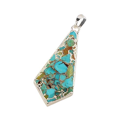ZENGORI 1 Pcs Silver Plated Copper Natural Turquoise Sheild Faceted Pendant for Unisex S1641