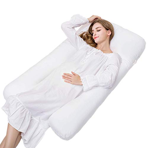 Newgam Pregnancy Pillow, Full Body Pillow for Pregnant Women, U Shaped Maternity Pillows for Sleeping, 51 Inch Back/Belly/Lumbar/Nursing Support Pillow with Washable Cotton Outer Cover (White)