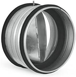 V/álvula de retenci/ón de aire con junta interna para conductos de ventilaci/ón disponible en varios di/ámetros.