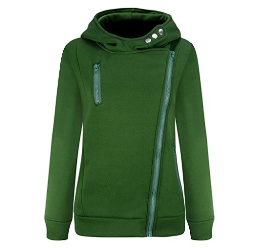Tongshi Capa de las mujeres de manga larga, además de terciopelo espesado del suéter encapuchado de la cremallera Verde