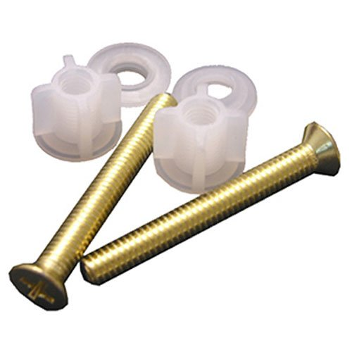 LASCO 14-1069 Replacement Hinge Brass Bolts, Washers and Nuts for Wooden Toilet Seats, 2-Pack (Bolts Brass Screws)
