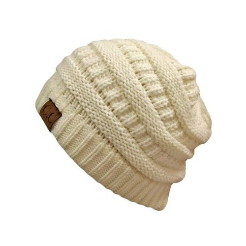 (Thick Slouchy Knit Unisex Beanie Cap Hat,One Size,Winter White)