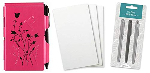 Wellspring Flip Note Notepad Set: Natural Elements Raspberry Hummingbird Flip Note, 3 Flip Note Refill Pads and a 3 Mini Pen Refill