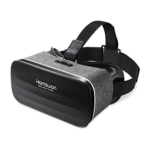 HAMSWAN 3D VR Headset, 3D VR Glasses Virtual Reality Headset for 3D Movies and Games - Light Weight VR Goggles Compatible with iOS, Android and Other Phones within 4.0-6.0 Inch