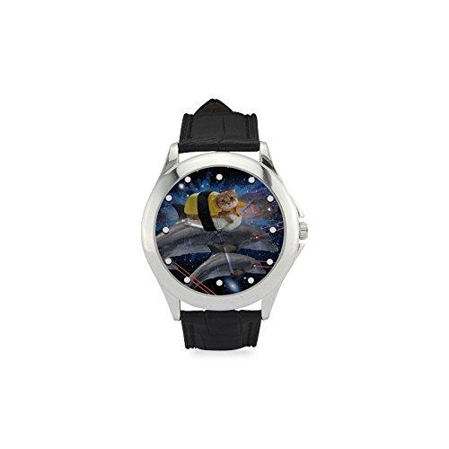 Día de Acción de Gracias regalos Cute Cat y delfines haces de láser de la mujer Classic correa de piel reloj: Amazon.es: Relojes