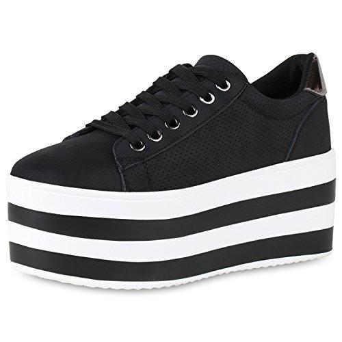 Silber Sneaker Plateau Chaussures Schwarz Vie De Damen Base ZOxfBn4