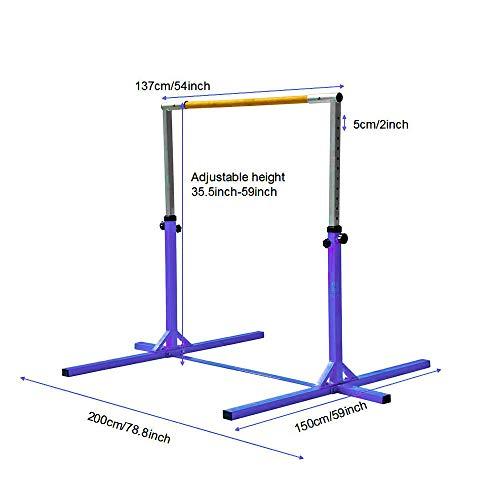 Modern-Depo Adjustable Height Kip Bar Pro | Junior Training Gymnastics Horizontal Bar Beech Wood - Purple by Modern-Depo (Image #3)