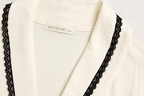insun Mujer Manga Larga Encaje Detalle Túnica albornoz camisón Blanco