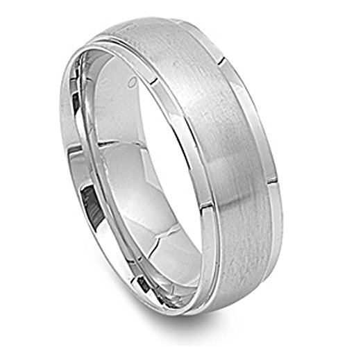 Men's Brushed Wedding Ring Wholesale Stainless Steel Band New 8mm Size 13