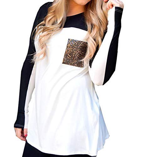 Col Patchwork et Blanc Longues Rond JackenLOVE Paillettes Casual Pulls Automne Tees Manches Hauts Shirts Jumpers Blouse Femmes Fashion T Printemps pissure Tops Y51q5wO
