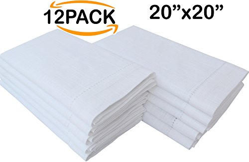 Linen Clubs 12-Piece Handmade Ladder Lace Hemstitched Egyptian Slub Cotton Linen 20-Inch-by-20-Inch Napkins, White by Linen Clubs