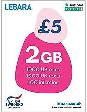 Lebara UK SIM-kaart, 10 GB voor £10, Halve prijs voor eerste 3 maanden, geen contract, betaal als je gaat SIM, UK Calls, UK Teksten en internationale gesprekken inbegrepen, Multi-size (Nano/Micro/Standaard), Past op alle apparaten