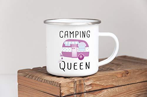 41PZ2UGqWWL Tassendruck Emaille Tasse Camping lustig - Geschenk zum Camping/Tasse für Coole Camper/Geschenk-Idee Campingfreunde…