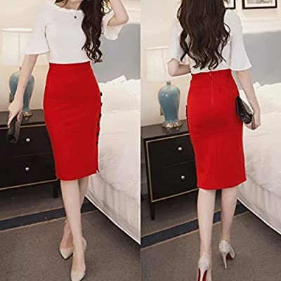Womens Pencil Skirt - Ladies High Waisted Button Split Office Skirt Womens Pleated Bow Slim Work Office Business Pencil Skirt at Women's Clothing store