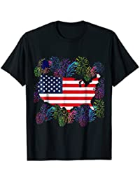Flag United States Map with Fireworks T-Shirt, USA Flag Tee
