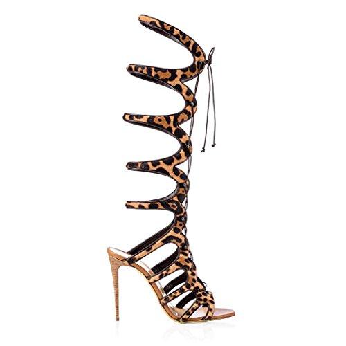 a altas para banda Color la tacón sandalias ayudar de Damas alto alto con romana botas de SHEO sandalias de Wzqw0xTSS