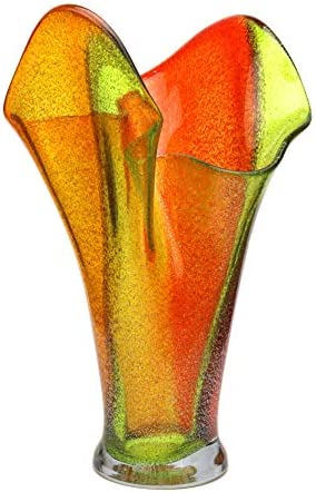 Murano Art Collection European Art Glass Sahara Flared Vase