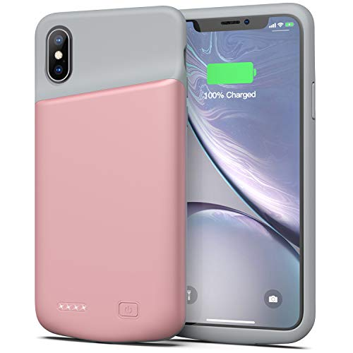 Battery Case for iPhone X/XS, 4000mAh Ultra Slim Protective Charging Case Rechargeable Extended Battery Pack for 5.8 inch iPhone X/XS (Pink)