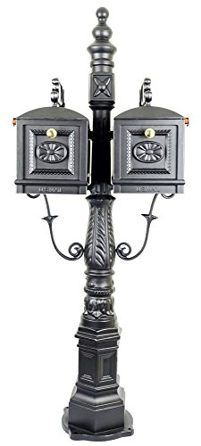 Double Mailbox with Post and Brass Numbers for House/ Postbox, Decorative Cast Aluminum Residential Post Mount Mailbox (Black-with Solid Brass Numbers)