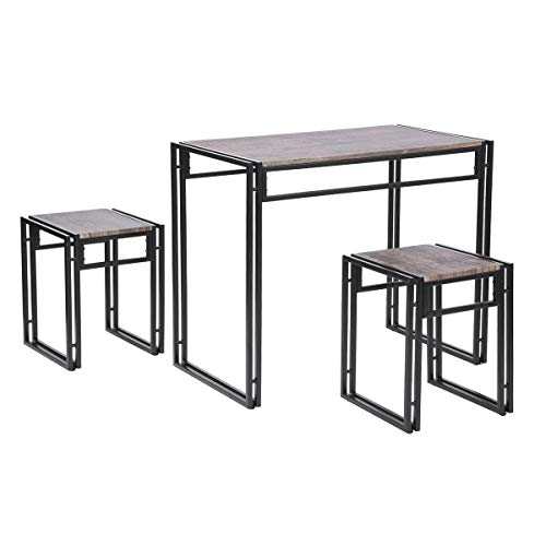 HOMY CASA 3 Piece Dining Set Compact 2 Chairs and Wood Table Set with Metal Frame Pub Breakfast Space Saving for Apartment Dining Room Living Room