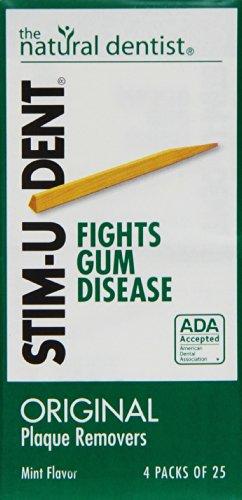 Stim-U-Dent Plaque Removers, Mint Flavor 4 - 25 packs [100 picks] (Pack of 10)