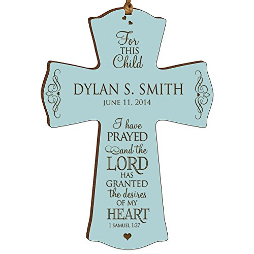 Personalized Baptism 1st Holy Communion Gifts Custom Christening Wall Cross for This Child I Have Prayed and the Lord Has Granted the Desires of My Heart 1 Samuel 1:27 (4.5