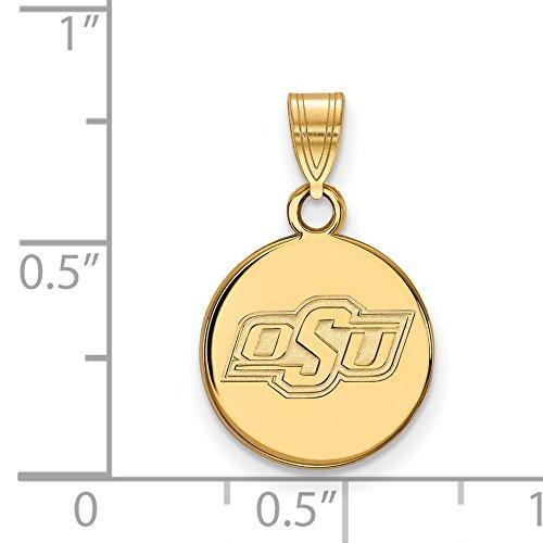 14k Yellow Gold Oklahoma State Cowboys OSU School Letters Logo Disc Pendant 13x12mm