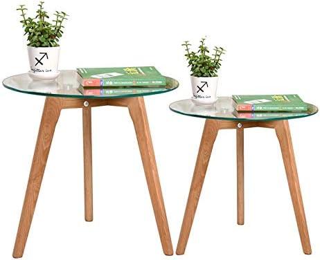 Geweldige Prijs Saladplates-LXM Kleine koffietafel volledig natuurlijk glas top tafel in twee maten voor huis, woonkamer, kantoor  bC2VaCm