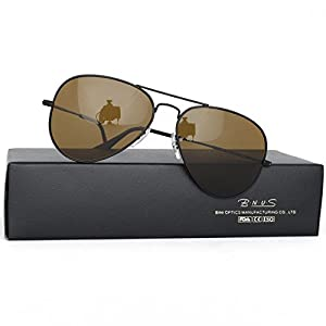 Bnus corning natural glass new pilot sunglasses italy made with polarized choices aviator (Frame: Matte Black / Lens: Brown B15, Polarized)