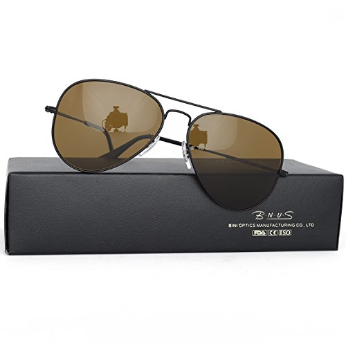 Bnus corning natural glass new pilot sunglasses italy made with polarized choices aviator (Frame: Matte Black / Lens: Brown B15, - Sunglasses Lens Glass
