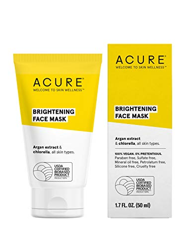 ACURE Brightening Face Mask | 100% Vegan | For A Brighter Appearance | Argan Extract & Chlorella - Detoxes, Conditions & Moisturizes | All Skin Types  | 1.7 Fl Oz