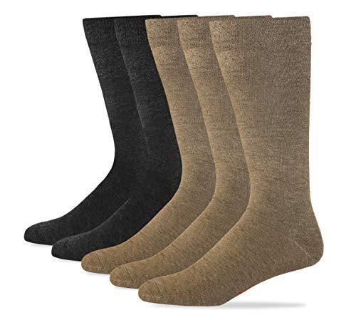 Dockers Men's Classics Dress Flat Knit Crew Socks Multipacks, Khaki Assorted, Shoe Size: 6-12 Size: 10-13