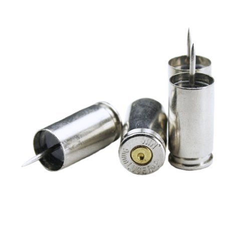 Winchester 9mm Luger Nickel Bullet Push Pins - Set of 4