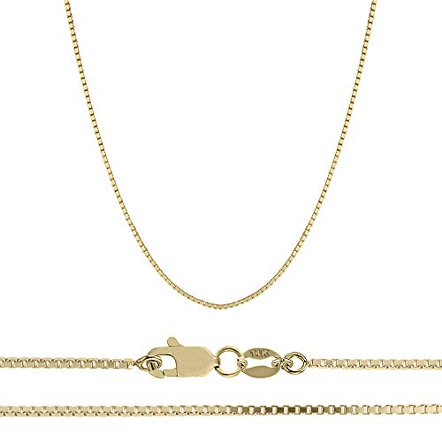 (Orostar 14K Solid Yellow OR White Gold 1mm Box Chain Necklace, 13