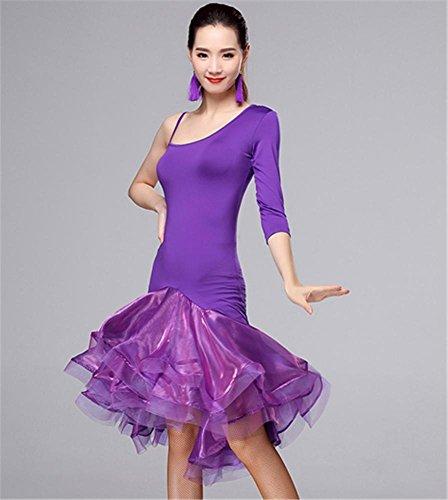 Robe En Professionnelle Violet Femme jupe Peiwen Latine Danse De Pour 71dxnIq