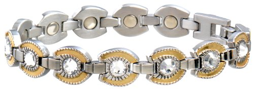 Sabona Ladies Gem Horseshoe Magnetic Bracelet (Stainless/Gold, Medium - Gold Horseshoe Sabona