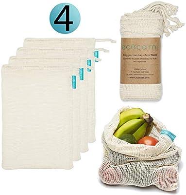 ecocami - Bolsas ecológicas para la Compra Reutilizables - Bolsa de Malla 100% algodón para Almacenamiento Fruta Verduras Juguetes, Lavable y Transpirable(Pack 4 (M)): Amazon.es: Hogar