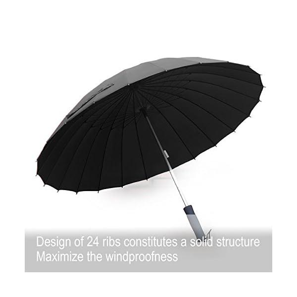 Becko-44-inch-Stick-Black-Manual-Opened-and-Closed-Straight-Shank-Strong-24-Fiber-Bids-Windproof-Travel-Golf-Umbrella-Black