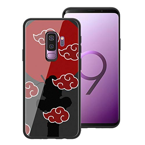 for Galaxy S9 Plus, Naruto 072 Design Tempered Glass Phone Case, Anti-Scratch Soft Silicone Bumper Ultra-Thin Galaxy S9 Plus Cover for Teens and Adults - Akatsuki Itachi (Naruto Sage Of Six Paths Mode Rasengan)