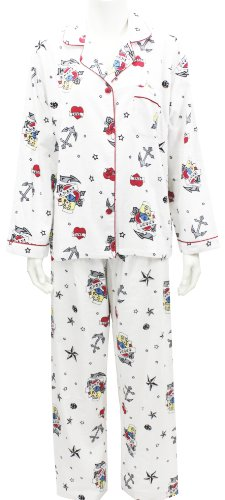 Leisureland Women's Cotton Flannel Pajama Set Nautical Anchors Sailors